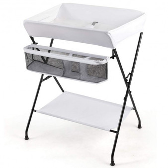 """""""BB5402WH"""" Portable Infant Changing Station Baby Diaper Table With Safety Belt-White"""