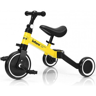 """TY593191YE"" 3 In 1 3 Wheel Kids Tricycles With Adjustable Seat And Handlebarfor Ages 1-3-Yellow"