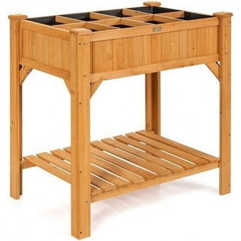 """""""GT3603"""" 8 Grids Wood Elevated Garden Planter Box Kit With Liner & Shelf"""