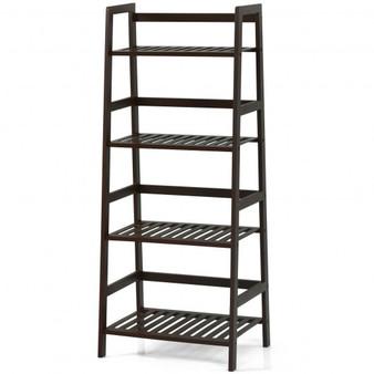 """HW65606CF"" 4-Tier Bamboo Ladder Shelf-Brown"