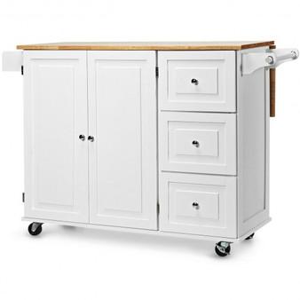Drop-Leaf Kitchen Island Trolley Cart Wood Storage Cabinet-White (HW66304WH+)