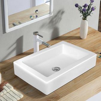 "22.5"" X 16"" Rectangle Bathroom Vessel Sink With Pop-Up Drain (BA7538)"