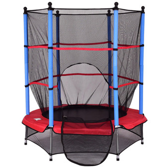 """55"""" Kids Jumping Trampoline With Safety Pad Enclosure Combo (SP34224)"""