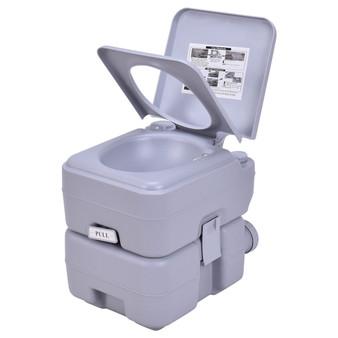5 Gallon 20 L Outdoor / Indoor Potty Commode Portable Flush Toilet-Gray (BA0118GR)