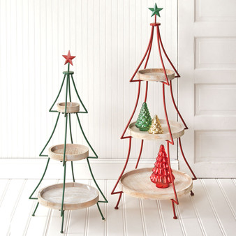 (Set Of 2) Tiered Christmas Tree Display Stands