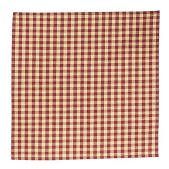 "CWI Burgundy & Tan Check Fabric Napkin ""G54060"""