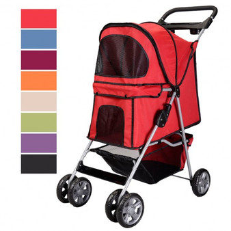 Large Deluxe Folding 4 Wheels Pet Dog Cat Carrier Stroller 8 Colors Choice Rose (PS5353ROSE)