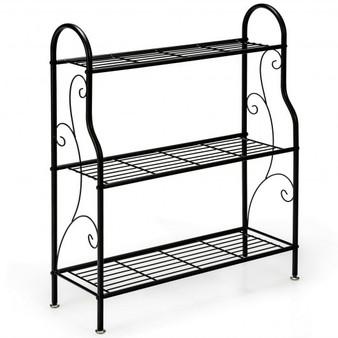 3-Tier Scrollwork Designed Metal Plant Stand-Black (GT3610)