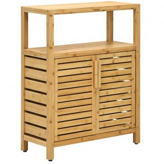 2-Door Bamboo Floor Cabinet Storage Organizer With Open Shelf Adjustable Shelf (HW67455)