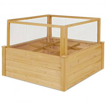 Wooden Raised Garden Box With 9 Grids And Critter Guard Fence (GT3637)