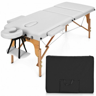 """3 Fold 84"""" L Portable Adjustable Massage Table With Carry Case (HB87018WH)"""