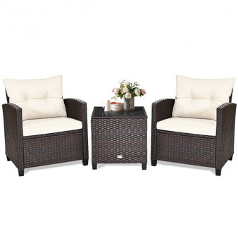 3 Piece Patio Rattan Furniture Set Cushioned Conversation Set Coffee Table (HW63759WH)