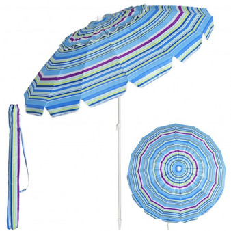 8Ft Portable Beach Umbrella With Sand Anchor And Tilt Mechanism For Garden And Patio-Blue (OP70716BL)
