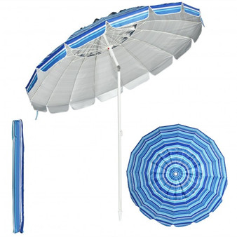 8Ft Portable Beach Umbrella With Sand Anchor And Tilt Mechanism For Garden And Patio-Navy (OP70716NY)