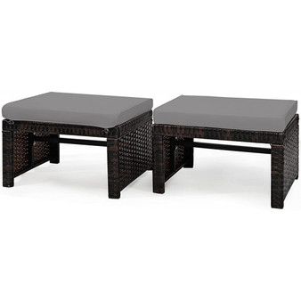 2 Pieces Cushioned Patio Rattan Ottoman Foot Rest-Gray (HW67814GR)