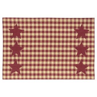 Burgundy & Tan Check Star Applique Placemat G54062