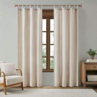Beals Faux Linen Tab Top Panel With Fleece Lining MP40-7494