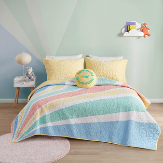 Rory Rainbow Sunburst Reversible Cotton Coverlet Set - Full/Queen UHK13-0165