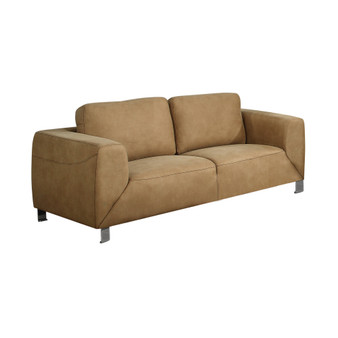Love Seat - Tan - Chocolate Brown Contrast Micro-Suede (I 8512TN)