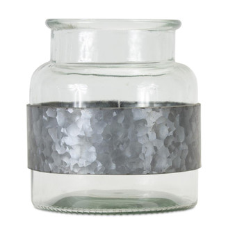 """Jar With Metal Wrap (Set Of 2) 7.5"""" X 7""""H Glass/Iron 78014DS"""