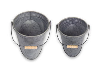 """Wall Pail With Handle (Set Of 4) 7.5"""" X 9.75""""H, 9"""" X 12""""H Metal 74561Ds"""