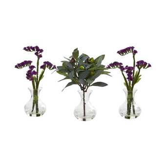 """10"""" Baby Breath And Olive Artificial Arrangement In Vase (Set Of 3) (A1166-S3-PP)"""