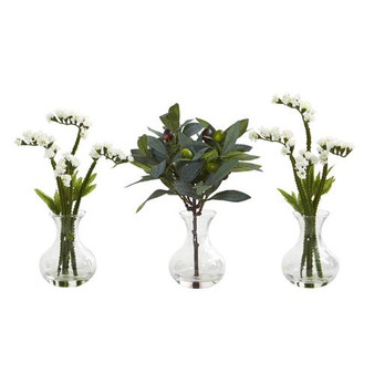"""10"""" Baby Breath And Olive Artificial Arrangement In Vase (Set Of 3) (A1166-S3-WH)"""