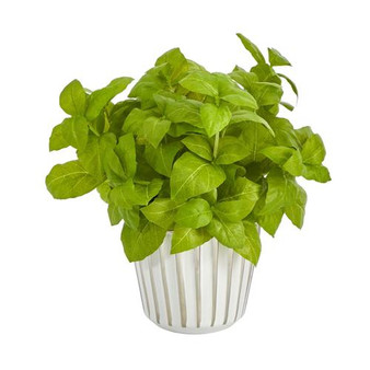 """10"""" Basil Artificial Plant In White Planter With Silver Trimming (P1449-GR)"""