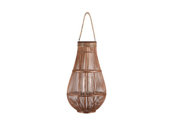 Bamboo Round Bellied Lantern With Wooven Banded Top, Jute Rope Removable Handle, Lattice Design Body And Glass Candle Holder Xl Natural Finish Mahogany Brown (Pack Of 2) 16320