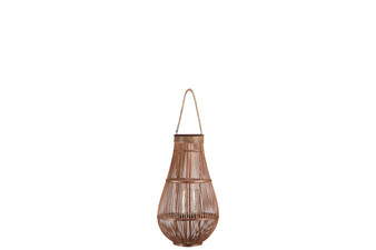 Bamboo Round Bellied Lantern With Wooven Banded Top, Jute Rope Removable Handle, Lattice Design Body And Glass Candle Holder Md Natural Finish Mahogany Brown (Pack Of 2) 16322