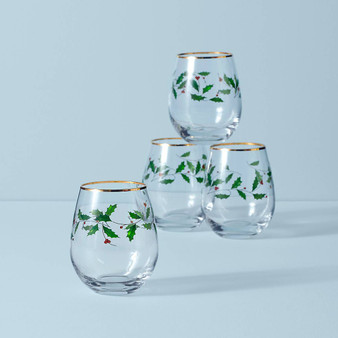 Holiday 4-piece Stemless Wine Glasses (888202)