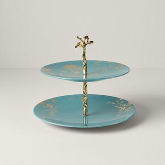 Sprig & Vine Dinnerware Tiered Server Turquoise (890740)