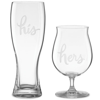 """Two Of A Kind 2-piece """"His and Hers"""" Beer Mug Set (857042)"""
