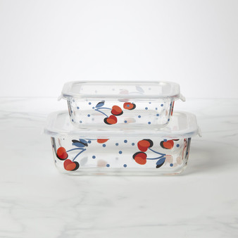 Kate Spade Vintage Cherry Dot Rectangular Food Storage - Set Of 2 (890833)