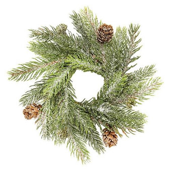 Frosted White Spruce Candle Ring FXP78264