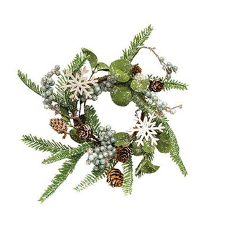 Frosted Fir Berry & Snowflake Candle Ring FXQ13672CL