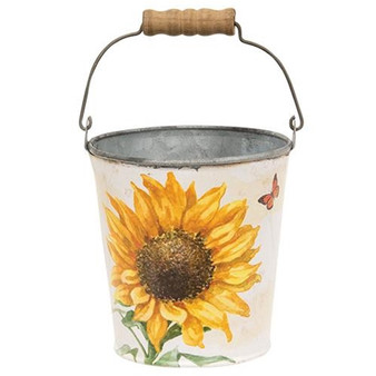Sunflower & Butterfly Metal Bucket With Handle G60376