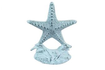 """Set Of 2- Dark Blue Whitewashed Cast Iron Starfish Book Ends 11"""" 2-k-0155-dark-blue"""