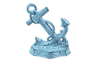 """Set Of 2 - Dark Blue Whitewashed Cast Iron Anchor Book Ends 8"""" 2-k-0136-darkblue"""