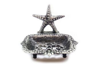 """Rustic Silver Cast Iron Starfish Soap Dish 6"""" K-9673-Silver"""