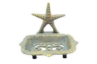 "Antique Seaworn Bronze Cast Iron Starfish Soap Dish 6"" K-9673-Bronze"
