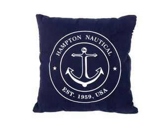 """Decorative Blue Hampton Nautical With Anchor Throw Pillow 16"""" Pillow 120"""