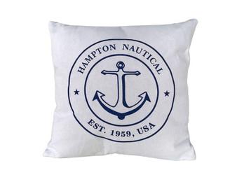 """Decorative White Hampton Nautical With Anchor Throw Pillow 16"""" Pillow 121"""