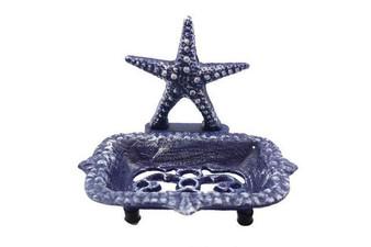 """Rustic Dark Blue Cast Iron Starfish Soap Dish 6"""" K-9673-Solid-Dark-Blue"""