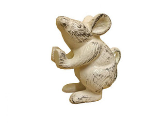 """Set Of 2 - Whitewashed Cast Iron Mouse Book Ends 5"""" 2-K-1342-W"""