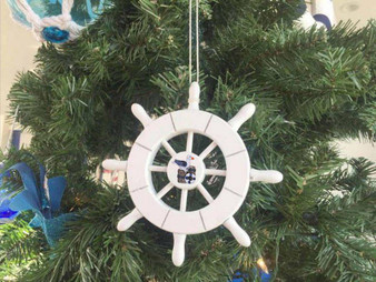"""White Decorative Ship Wheel With Seagull Christmas Tree Ornament 6"""" SW-6-101-Seagull-X"""