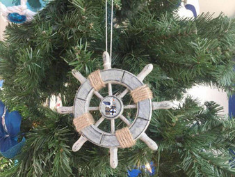"""Rustic Decorative Ship Wheel With Seagull Christmas Tree Ornament 6"""" SW-6-103-Seagull-X"""