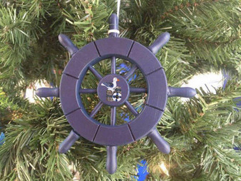 "Dark Blue Decorative Ship Wheel With Seagull Christmas Tree Ornament 6"" SW-6-104-Seagull-X"
