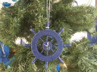 "Rustic Dark Blue Decorative Ship Wheel With Seagull Christmas Tree Ornament 6"" SW-6-105-Seagull-X"