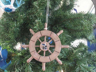 """Rustic Wood Finish Decorative Ship Wheel With Seagull Christmas Tree Ornament 6"""" SW-6-107-Seagull-X"""